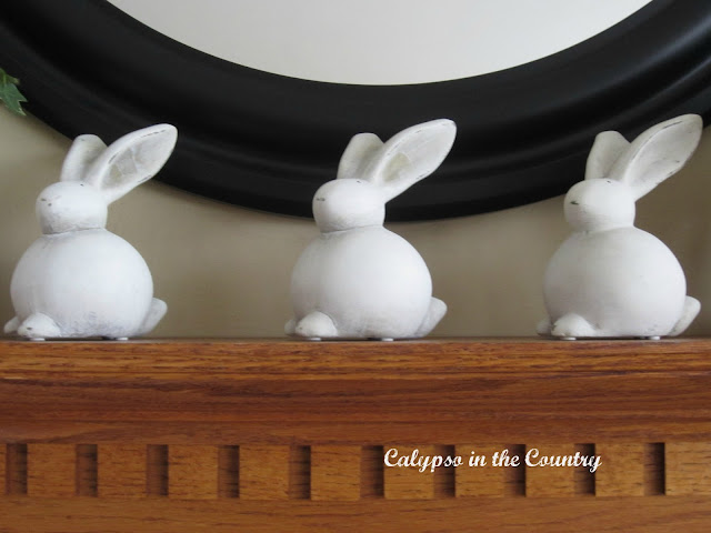 Easter bunnies on mantel