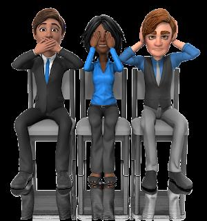 3 cartoon figures demonstrating speak no evil, see no evil, hear no evil