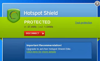 Hotspotshield is protecting your anonimity.