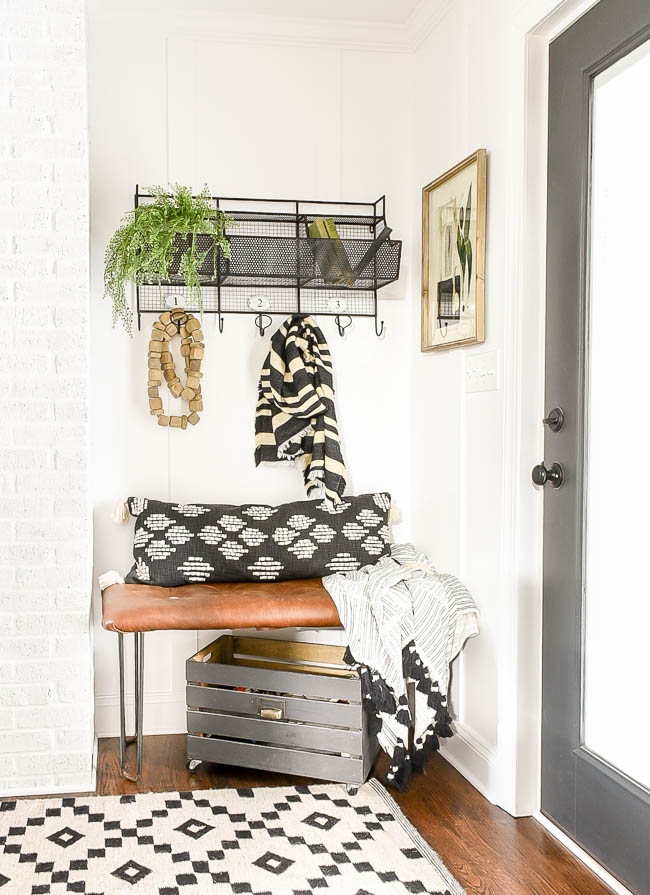 Vintage modern decorated mudroom
