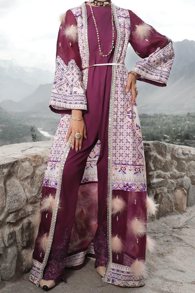 Almirah Unstitched Purple color 2 pc suit
