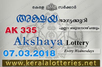 Kerala Lottery Results: 07.03.2018 Akshaya AK-335 Lottery