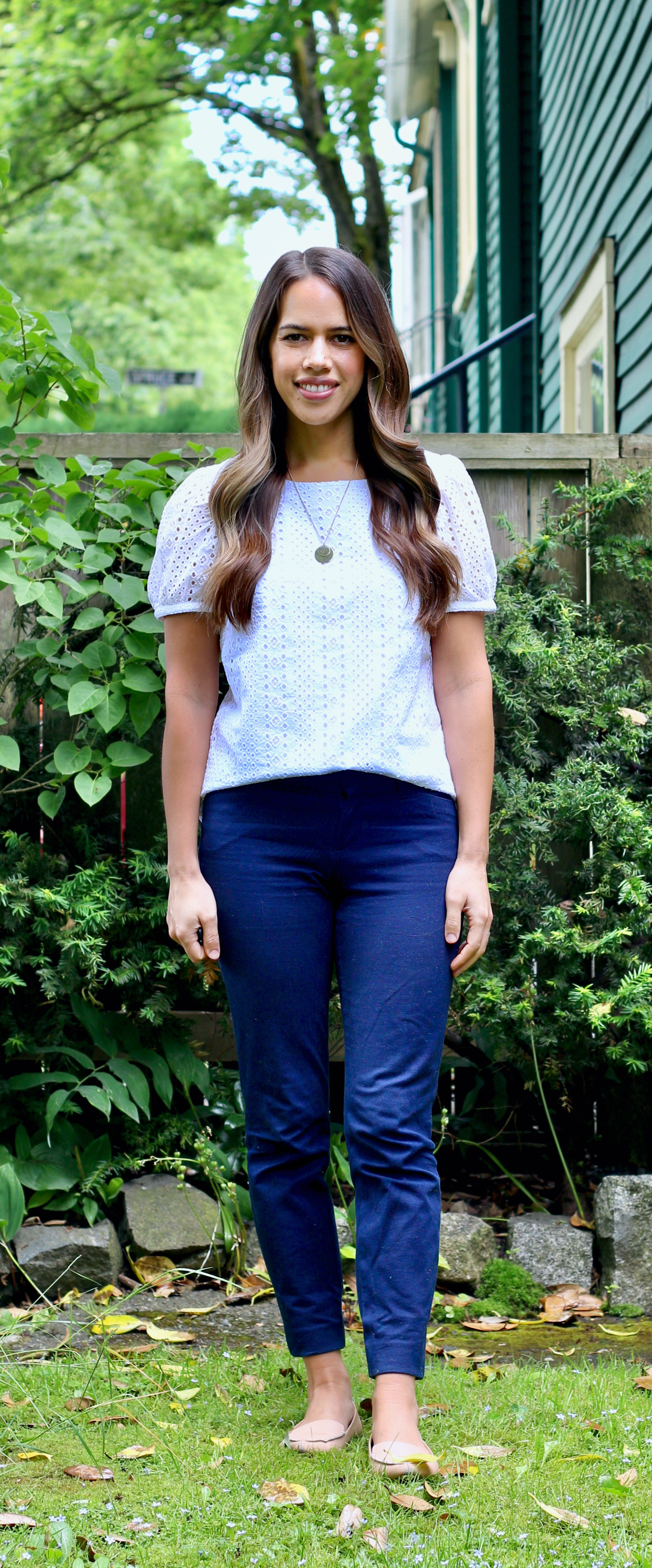 Jules in Flats - Eyelet Puff Sleeve Top with Navy Ankle Pants (Business Casual Workwear on a Budget)