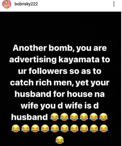 Gbam!  Bobrisky shades a certain Kayanmata seller on Instagram