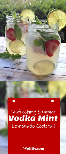 Refreshing Summer Vodka Mint Lemonade Cocktail #Summer # Vodka #Lemonade #Cocktail