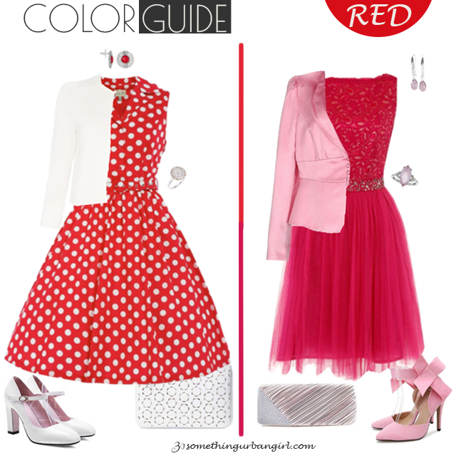 Pretty red dresses for Clear Winter seasonal color women by 30somethingurbangirl.com