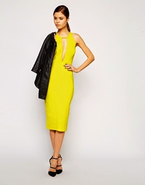 Yellow plunge dress