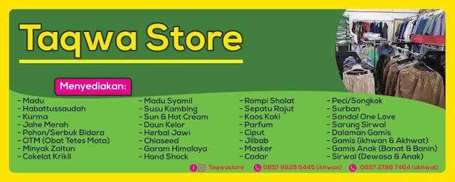 Taqwa Store, Menyediakan Herbal, Madu, Gamis dan Perlengkapan Muslim di Magelang