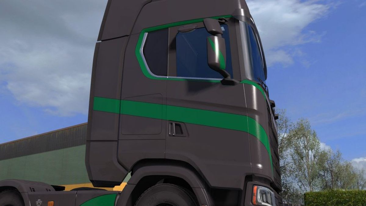 Scania S High Roof Gray & Green Simple Skin