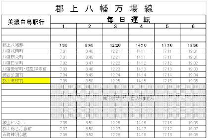郡上八幡万場線運行開始(時刻表)