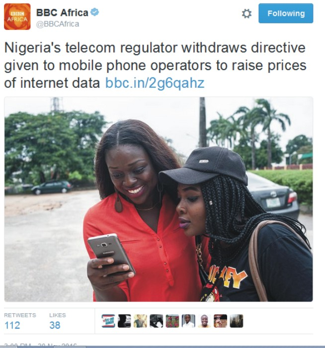 NCC Withdraws Directive To Mobile Phone Operators To Raise Data Prices