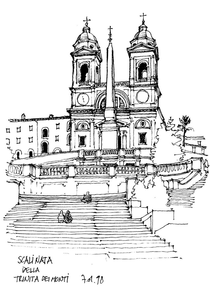 01-Rome-Trinita-dei-Monti-Gérard-Michel-Italian-Urban-Sketches-to-Capture-Architecture-in-a-moment-in-Time-www-designstack-co