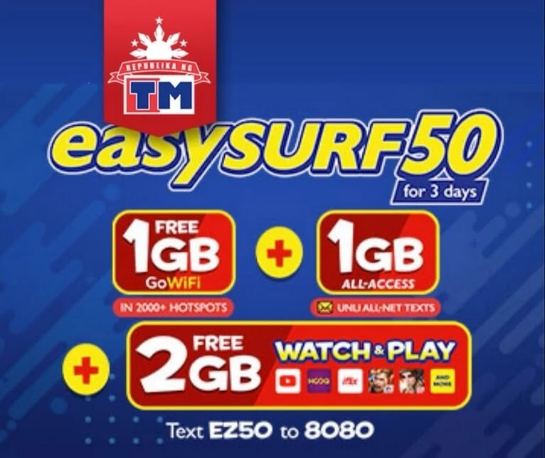 TM EasySurf50 Now with 4.3GB of Data + Unli All Net Texts; Still for Only Php50