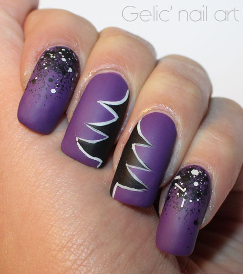 Gelic' nail art: Abstract purple, black and white ...
