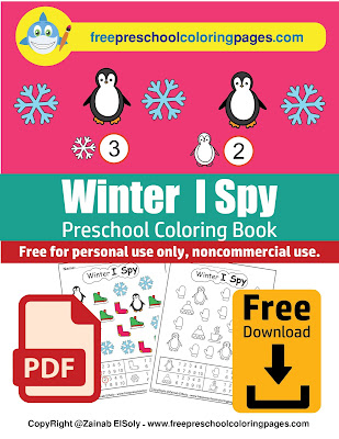 winter i spy coloring pages free printable for kids free preschool coloring book pdf download for Christmas holidays color and count numbers from 1 to 10