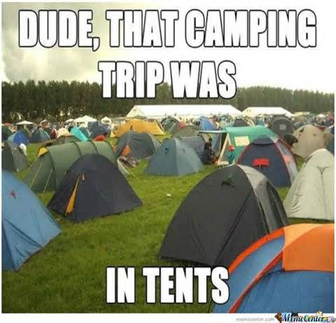 Dude that camping trip was IN TENTS. Camp pun - Funny camping memes and real life story -- city dogs hate camping!  Hilarious humor post for dog or nature lovers! via Devastate Boredom