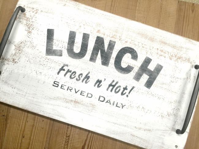 Lunch tray cutting board with stencil