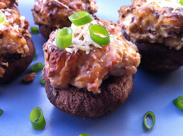 Bacon Blue Cheese and Caramelized Onion Stuffed Mushrooms