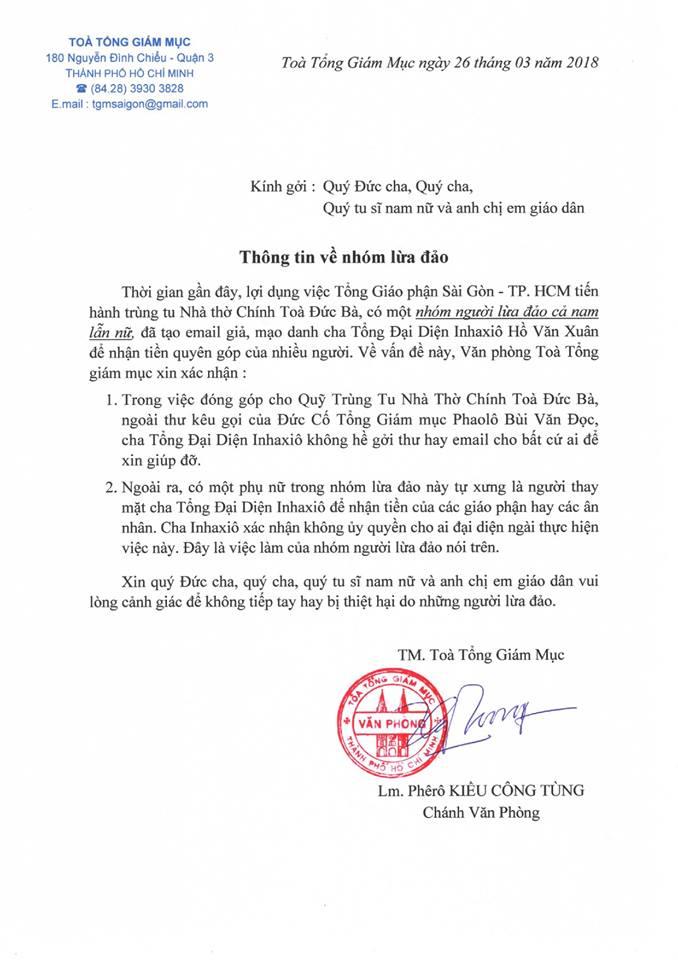 Cảnh báo: Nhóm mạo danh, lừa đảo liên quan đến việc trùng tu Nhà thờ Chánh toà Đức Bà Sài Gòn