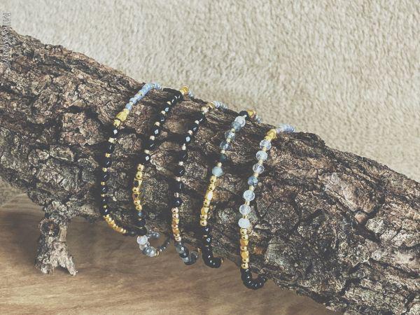 Bracelets fins en pierres naturelles d'onyx et de quartz rutile tourmaline My Roller Stone