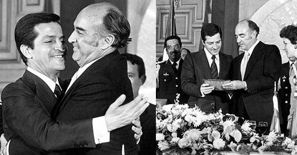 Adolfo Suárez abraza al presidente de México López Portillo