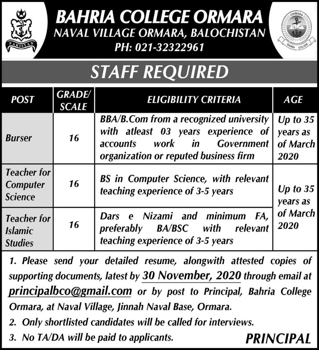 Bahria College Ormara Teaching Staff Jobs 2020 for Burser, Teacher, Computer Teacher, Islamic Studies Teacher
