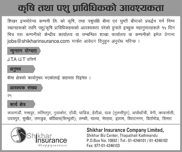 Vacancy at Shikhar Insurance Company