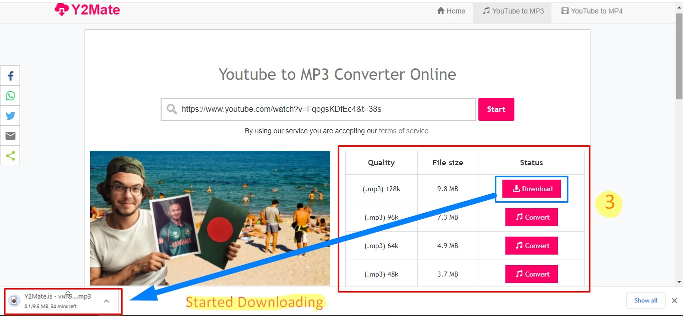 YouTube to mp3 conversion process- 2