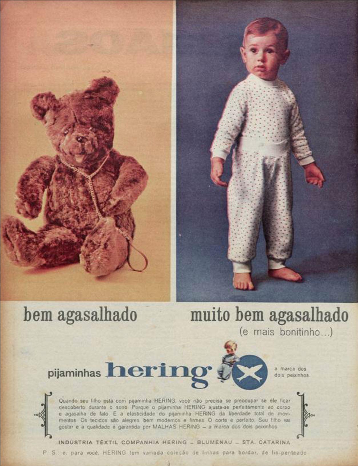 Anúncio antigo da Hering promovendo sua linha de pijamas em 1965