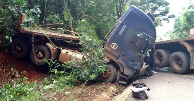 Acidente na 487, próximo ao trevo de acesso à Luiziana