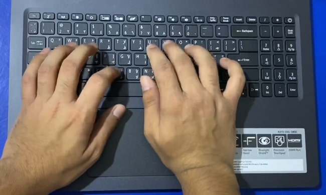 Typing experience on the keyboard of Acer Aspire 3 A315-57G laptop.