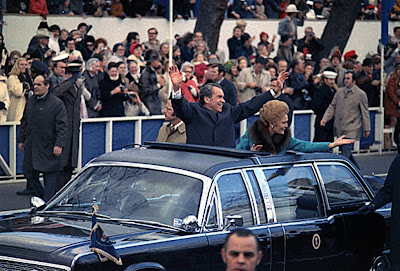 President and Mrs. Nixon in the inuagural motorcade