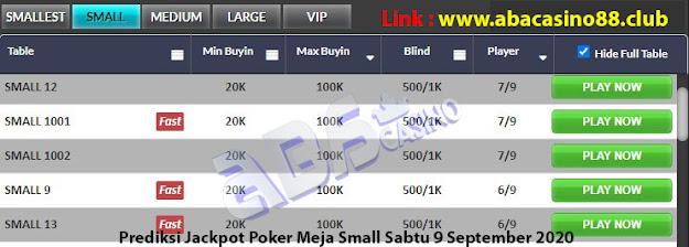 prediksi jackpot poker meja small sabtu 5 september 2020