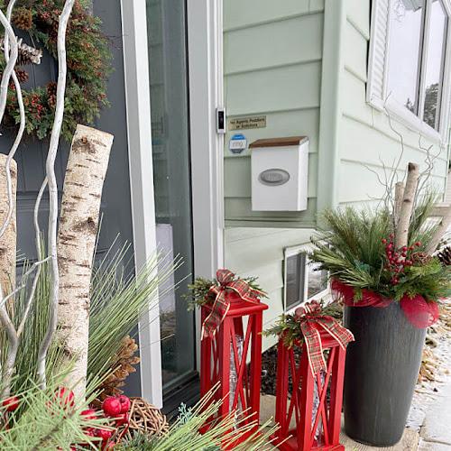 Large Festive Scrap Wood Red Lanterns
