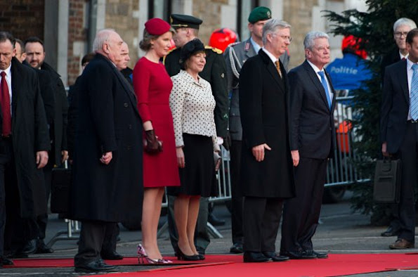 King Phillipe of Belgium and Queen Mathilde of Belgium, German President Joachim Gauck and the German president's partner, Daniela Schadt