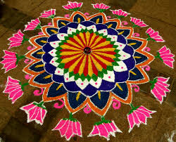 rangoli with flowers and leaves