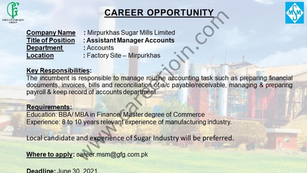 career.msm@gfg.com.pk - Mirpurkhas Sugar Mills Ltd Jobs 2021 in Pakitsan