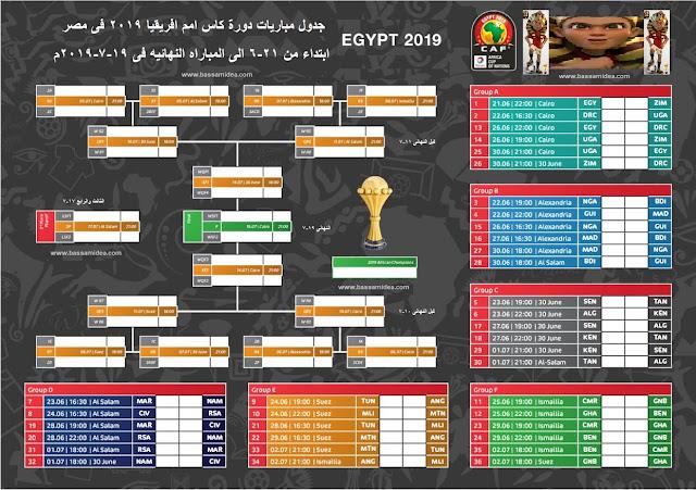 جدول مباريات أمم أفريقيا 2019 كاملاً والقنوات الناقلة|reada bassam