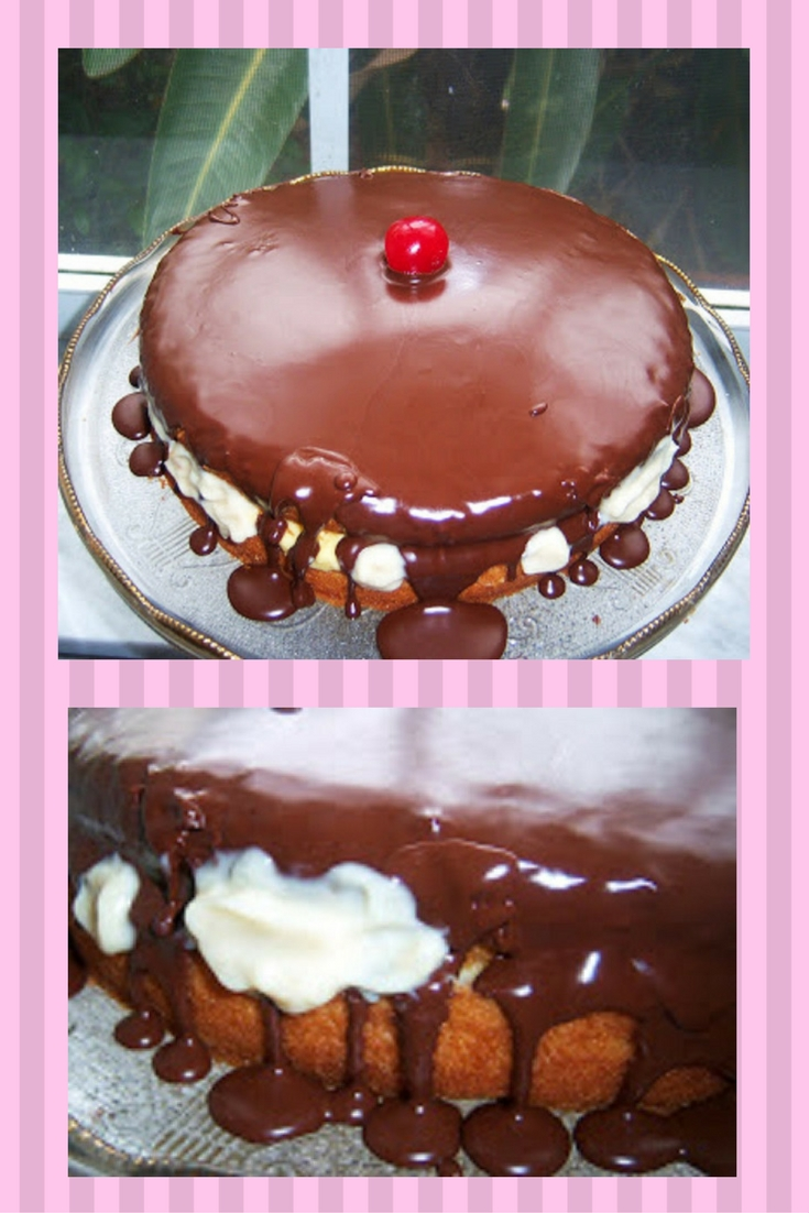 Boston Cream Pie Italian Style #cake #pie #baking