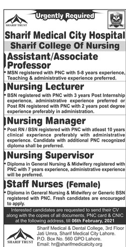 Jobs at Sharif City Hospital in 2021-Lahore Jobs in 2021-Apply Online-hr@sharifmedicalcity.org