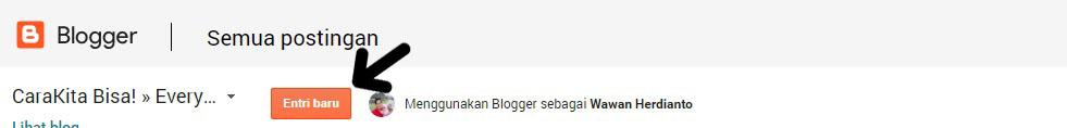Tombol Menu Entri Baru Blogger