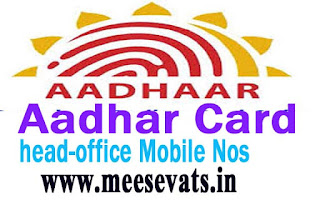 Aadhar Card Head Office Phone Numbers & Aadhar Toll Free Numbers