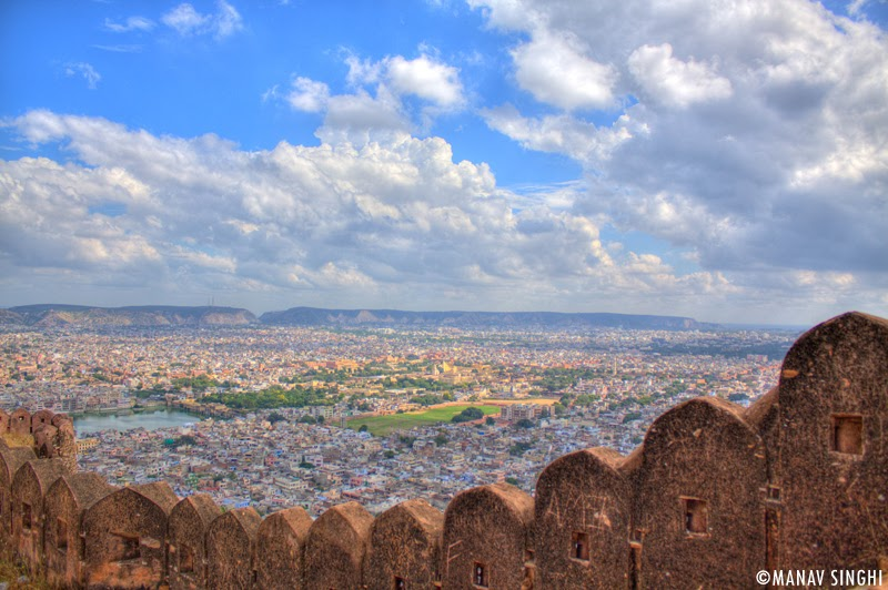 View of Jaipur from the wall of Bawadi (Step Well)