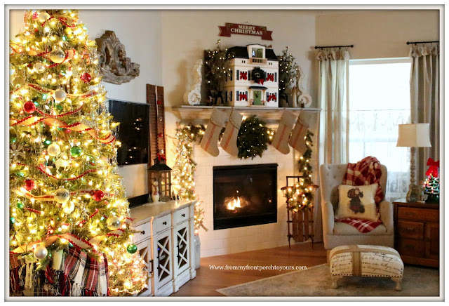 French Country -Farmhouse -Christmas Tree-Christmas Mantel-Hearth & Hand- Doll House-Grainsack Stockings-From My Front Porch To Yours