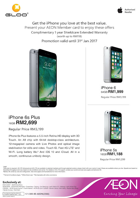 AEON Malaysia Apple iPhone 6s Plus 6 5s Discount Price Free Warranty