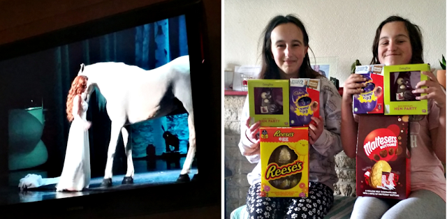 Shania Twain on the TV and my girls with their Easter eggs