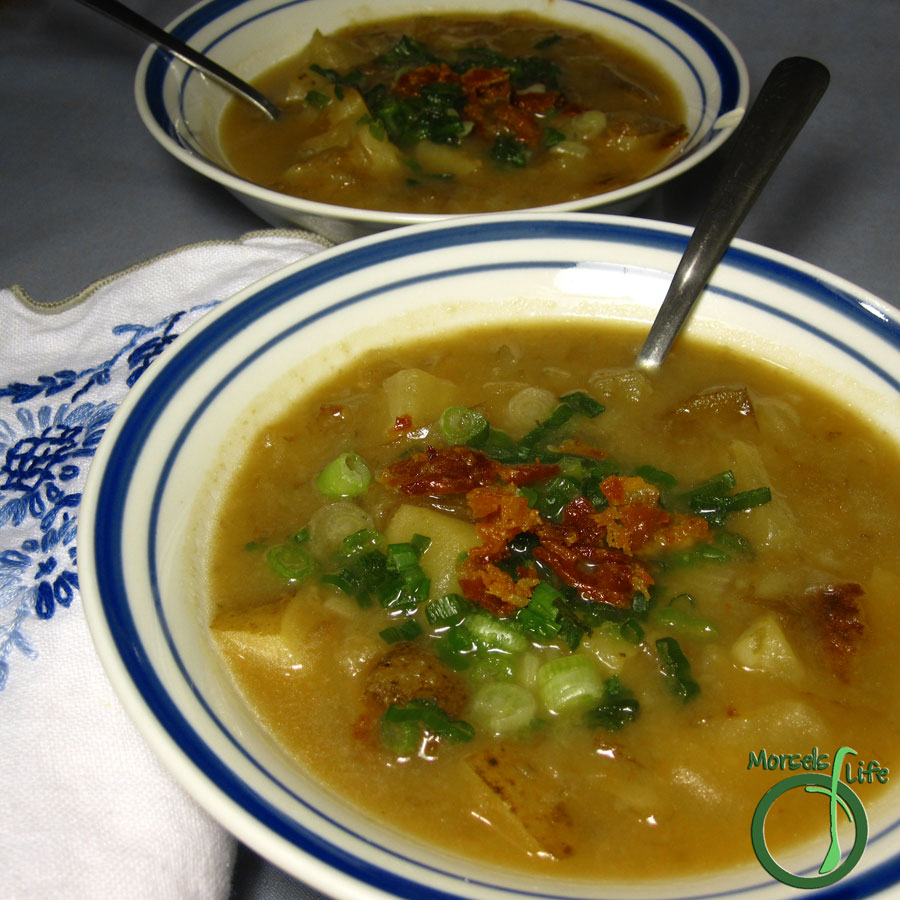 Morsels of Life - Loaded Baked Potato Soup - Baked potatoes, loaded with bacon, green onions, and cheese, in thick and hearty soup form.