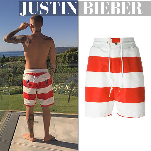 Justin Bieber in striped joyrich playboy red shorts summer fashion for men