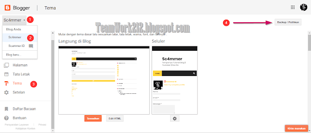 Menyimpan salinan tema blog