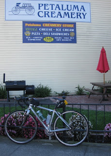 pep's bike outside the Petaluma Creamery, Petaluma, California
